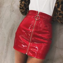 Women Skirt Casual Zip Faux Leather Pencil Bodycon Above Knee Mini Skirt Plus Size Faldas Mujer Jupe Femme