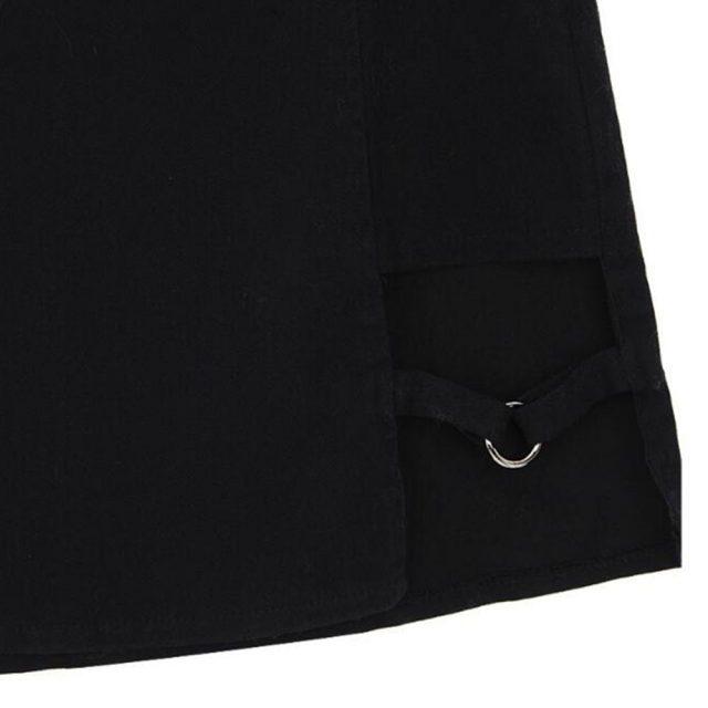 Sexy Ladies Asymmetrical Skirt High Waist Gothic Punk Dance Clubwear Short Mini Bodycon Skirts Black 200-873