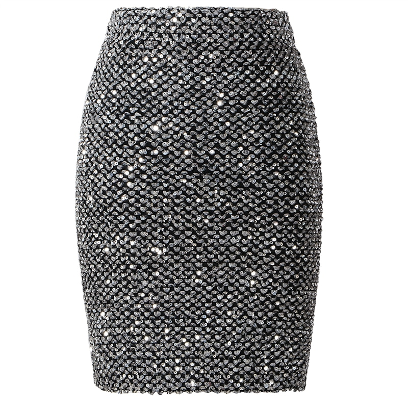Neophil 2019 Spring Women Sequined Patchwork Shinny Pencil Mini Skirts High Waist Black Party Sexy Bandage Girls Long Saia S1802