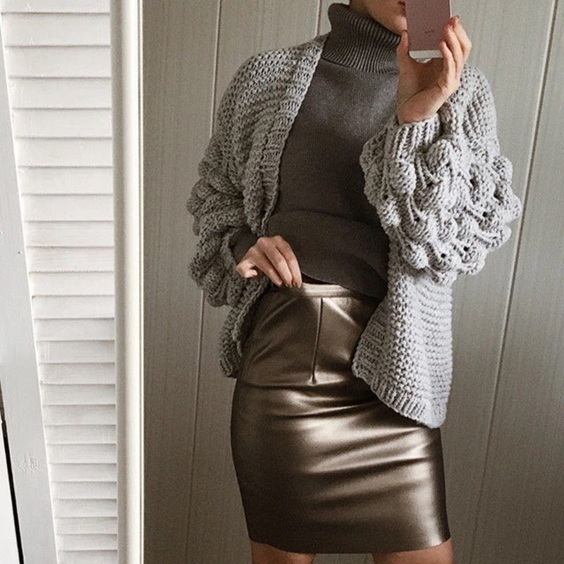 Neophil 2019 Sexy Faux Fur Leather Pu High Waist Midi Women Pencil Skirts XXL Office Wrap Bodycon Short Girls Tutu Saia S08019