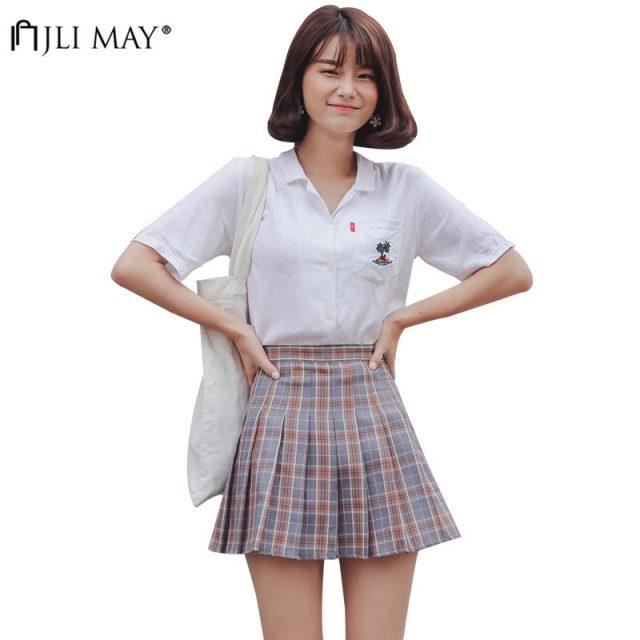 JLI MAY High Waist Blue Pleated Skirts Girls Harajuku Skirt Solid Plaid A-line Mini Japan Korean style school uniform Women