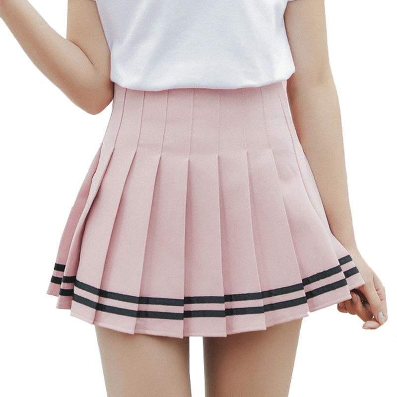 Women Plaid Skirt Lolita Style Harajuku Kawaii Sweet Striped Skirts Mini Cute School Uniforms Saia Faldas Ladies Jupe SK6655