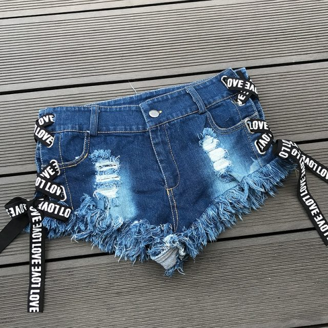 2018 Sexy Low Waist Bandage Denim Ripped Hole Short Jeans Mini Skinny Sexy Club DJ Dance Shorts New White Blue Black