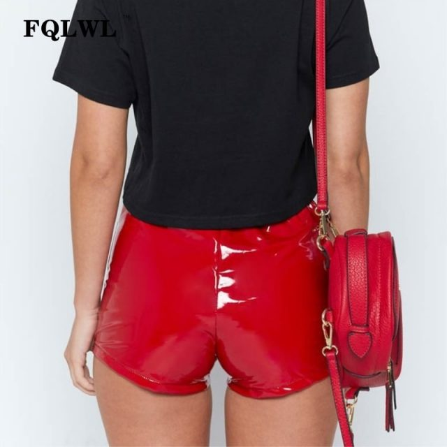 FQLWL Faux Pu Leather Shorts Women Hotpants Lace Up Red Black High Waist Shorts Female Sexy Bandage Mini Women Shorts Buttoms