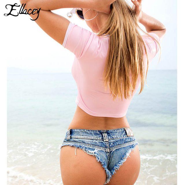 Ellacey Summer Women Sexy Jeans Shorts Feminino Candy Color Fashion Hot Denim Shorts Beach Ladies Party Low Waist Mini Shorts