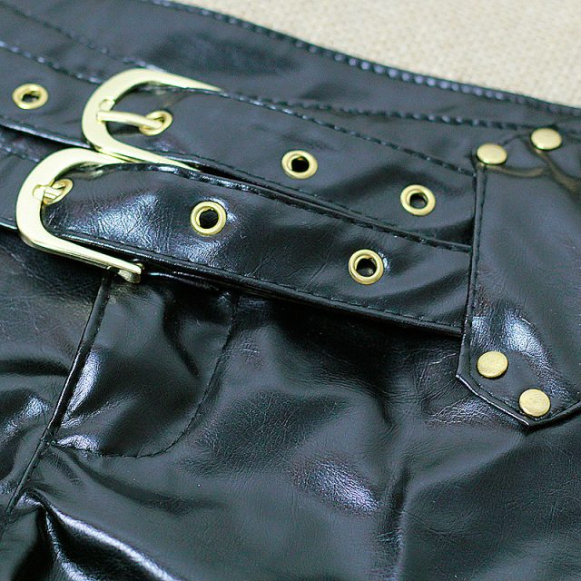 1PCS Sexy Faux Leather Hot Shorts Double Sashes Low Rise Waist Micro MINI Shorts With Zipper Open Night Culb Wear FX1035
