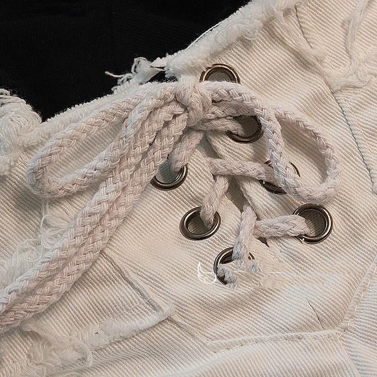 2018 New Women Sexy Cut Off Low Waist Denim Jeans Shorts Bandage Zipper Hole Mini Hot Shorts Black White