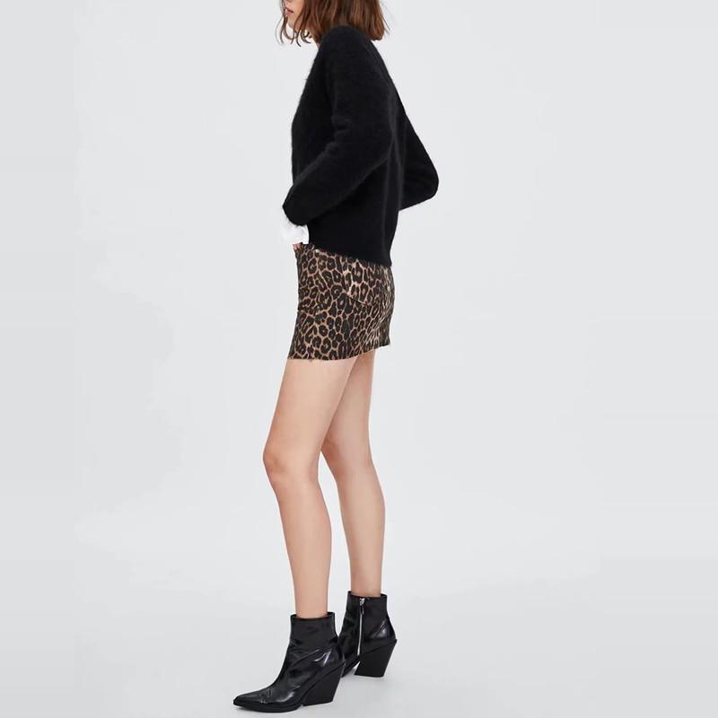 2018 Sexy Leopard print mini skirts womens high waist skirts casual denim skirts Korean fashion Streetwear pocket cotton skirts