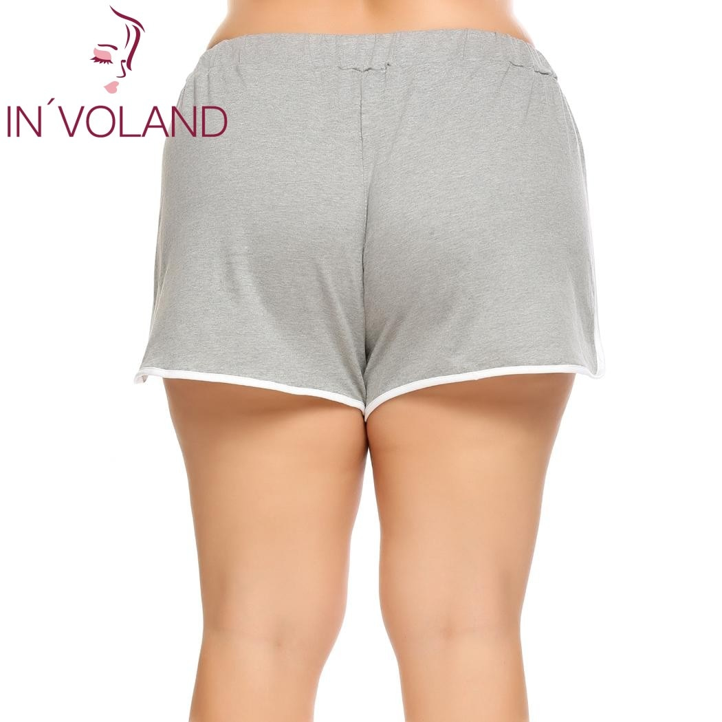 IN'VOLAND Women Shorts Plus Size Lace-up Elastic Waist Patchwork Loose Above Knee Summer Split Casual Feminino Mini Shorts 5XL