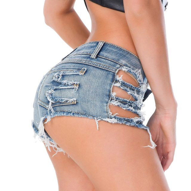 Hollow Tassel Low Rise Waist Hot Short High Cut Sexy Denim Booty Sexy Jeans Shorts Vintage Cute Micro Mini Short Club Wear 33