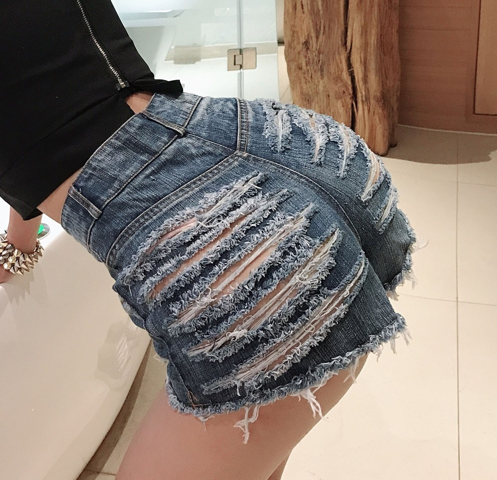 TASTIEN Highwaisted Mini Jeans Shorts Women Hollow out Sexy Booty Mini Blue White Black Shorts Sexy Denim Shorts Jeans Clubwears