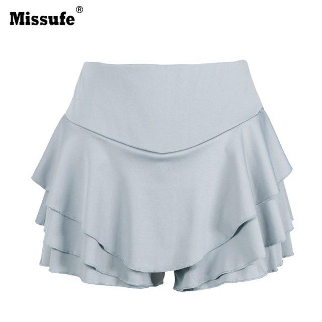 Missufe Summer High Waist Layered Ruffled Frill Shorts Femmes 2017 Brief Solid Slim Mini Skirt Shorts Streatwear For Women