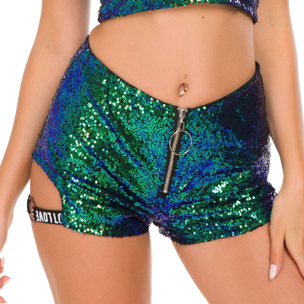 2018 High Waisted Sequined Shorts Sexy Women Cotton Super Mini Hot Summer Booty Shorts DJ Club Pole Dance Ladies Shorts feminino