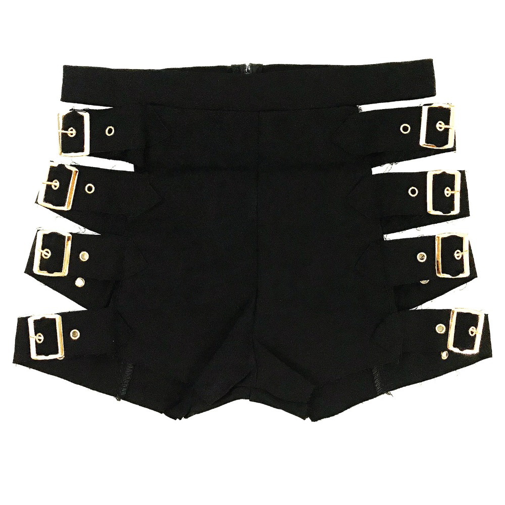 2019 Women Sexy Hollow Punk Rock Shorts Cotton High Waist Twerk Booty Dance Wear Black Short Pants Mini Clubwear Bottoms Shorts