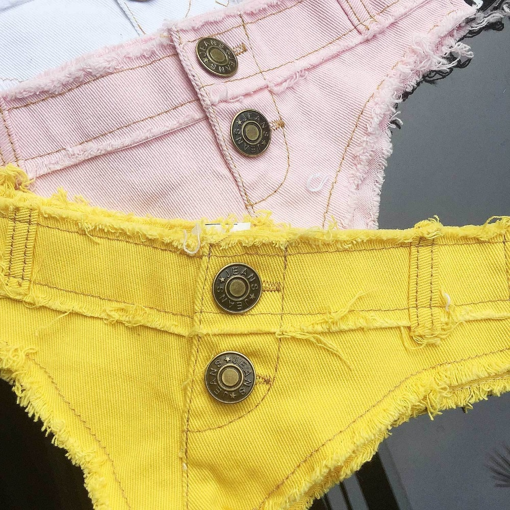 Womens Sexy Shorts White Super Denim Jeans Mini Shorts Lace Up Low Waisted Slim Female DS Clubwear Fashion Booty Shorts 4 Color