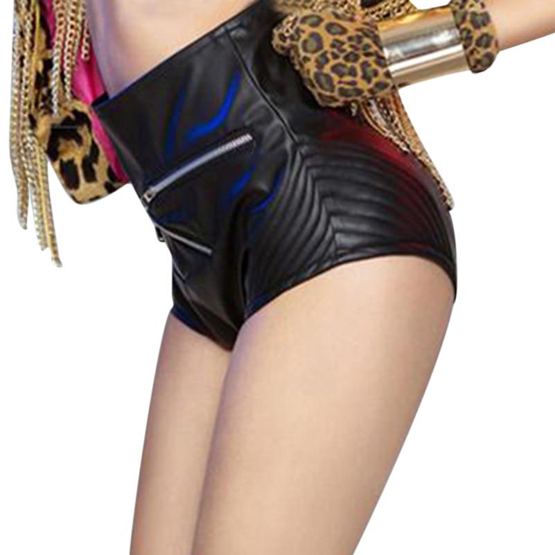 Faux Leather Shorts Women High Waist Sexy Black Shorts Women Fashion Nightclub Mini Shorts Stage Performance Costume for Girls