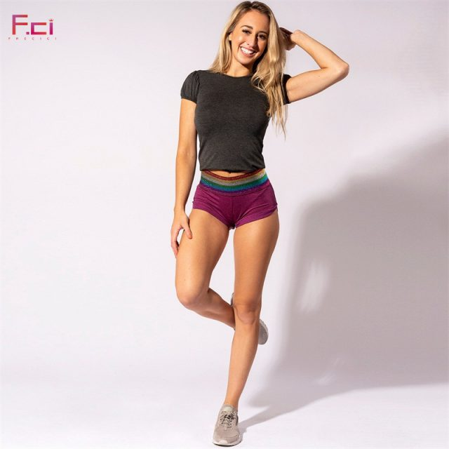 2019 Women Summer Sexy Shorts Push Up Scrunch Butt Shorts Rainbow Stripe Waist Mini Shorts with Hip Pocket Skinny Shorts