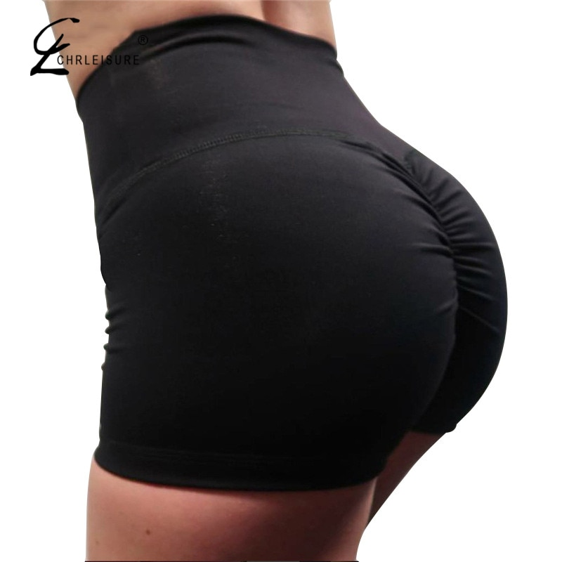 CHRLEISURE Summer Sexy Push Up Shorts Women Fashion High Waist Workout Short Solid Color Mini Short Feminino