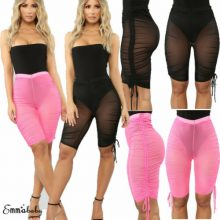 Sexy Women Mesh Swimsuit Cover Up Pant Sheer Perspective Swimwear See Through Shorts Pants