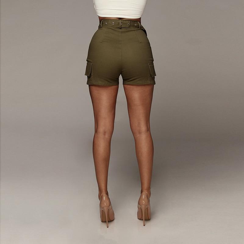 Slaygirl Casual Green Sashes Button Denim Shorts Women Zipper Pockets High Waist Summer Shorts Jeans Sequined Shorts 2018 shorts
