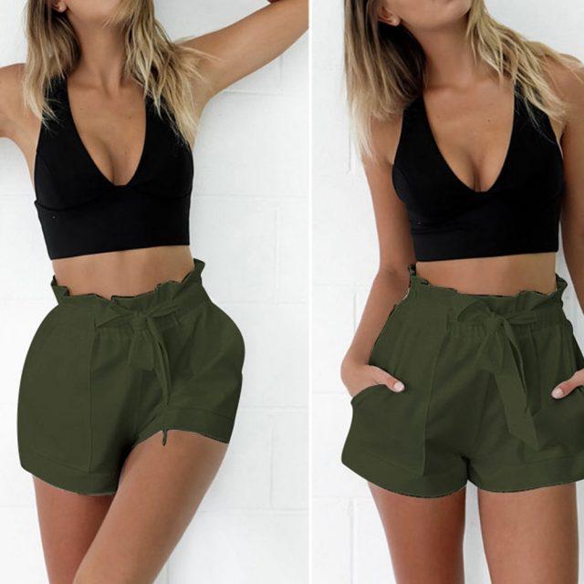 Womail Women shorts summer Solid Pocket High Waist Bandage Easy Elastic Casual short Skinny Daily denim color dropship j23