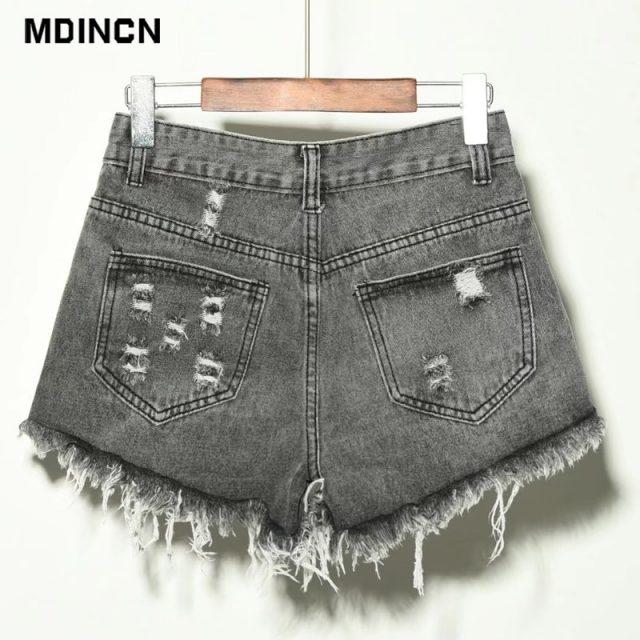 Europe Blue Crimping Hole Denim Shorts For Women Summer New Brand Trendy Slim Casual Plus Size Womens High Waist Shorts 6XL