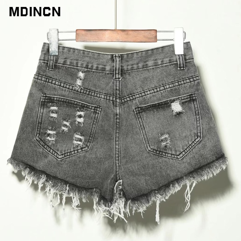 Europe Blue Crimping Hole Denim Shorts For Women Summer New Brand Trendy Slim Casual Plus Size Womens High Waist Shorts 6XL