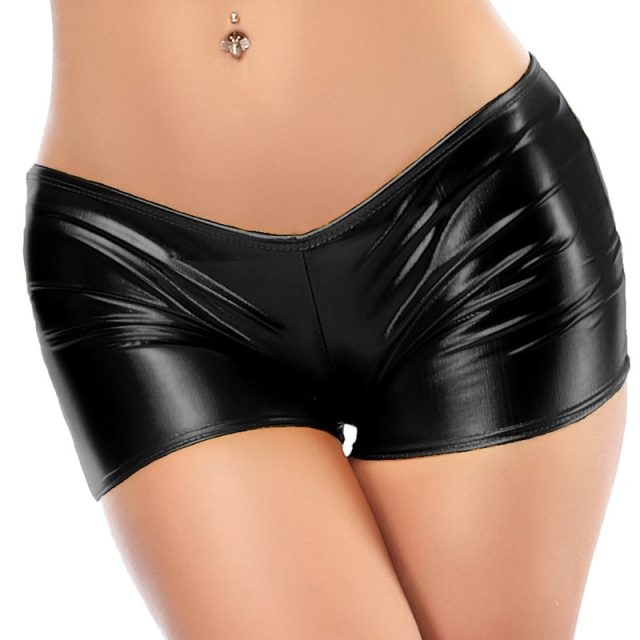 Candy Color Faux Patent Leather Shorts Glitter Sexy Pole Dance Booty Shorts Wetlook Mini Short Women Hot Clubwear Pantalon Corto