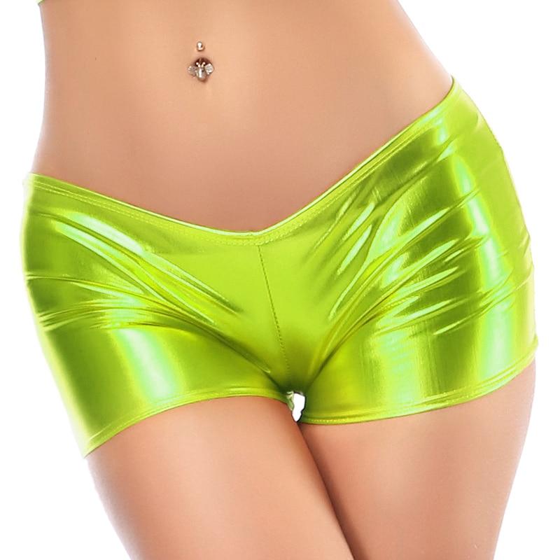 Candy Color Faux Patent Leather Shorts Glitter Sexy Pole Dance Booty Shorts Wetlook Mini Short Women Hot Clubwear Pantalon Corto