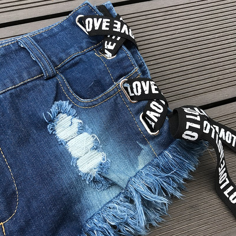NORMOV Women Shorts Jeans Sexy Low Waist Mini Denim Ripped Hole Solid Short Jeans Skinny Summer Feminino Slim Bandage Jeans