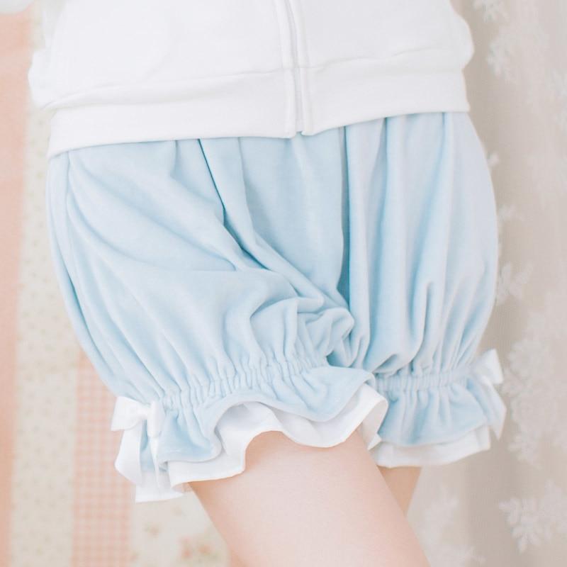 Lovely Cozy Elastic Waist Velvet Black/Light Sky Blue/Purple Lolita Bloomers for Girl with Cute Bow