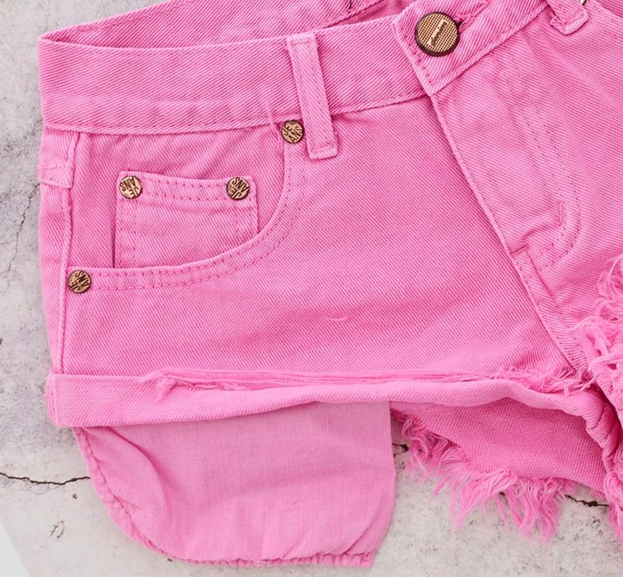 Low Waist Macaron Pink Jeans Shorts Women High Street Pantaloncini Donna Mujer Loose Summer Denim Shorts Korte Broek Vrouwen