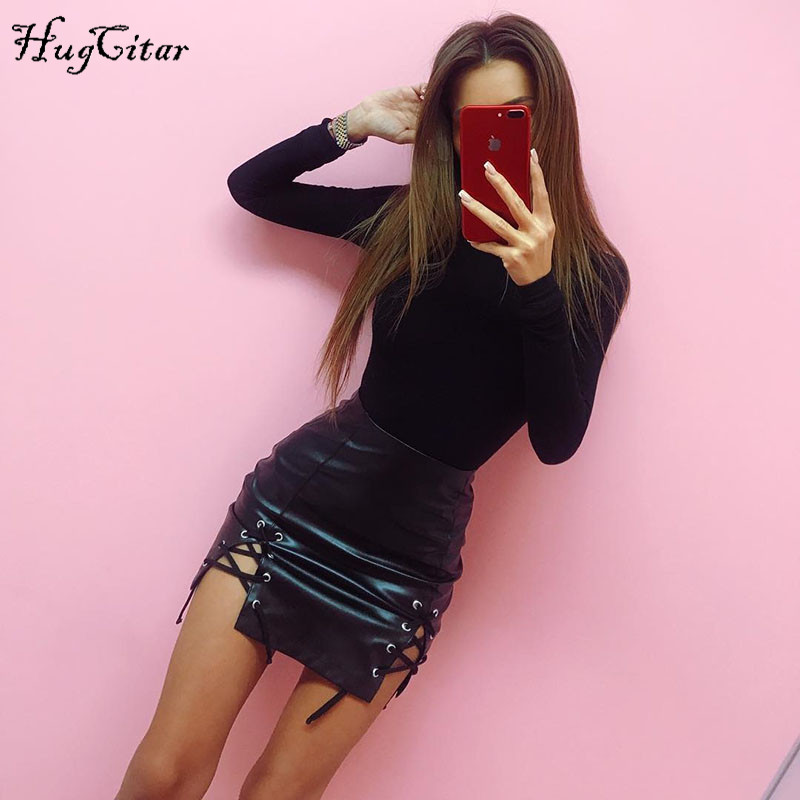 Hugcitar cotton long sleeve high neck skinny bodysuit 2018 autumn winter women black gray solid sexy body suit