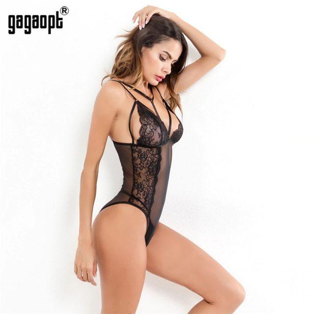 Gagaopt 2018 Summer Fashion Lace Bodysuit Women Perspective Bandage Mesh Bodysuit Black Sexy Bodysuit Jumpsuit Overalls
