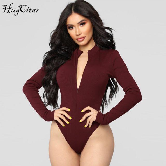 Hugcitar long sleeve zipper high neck bodycon sexy solid body 2018 autumn winter women fashion club bodysuit