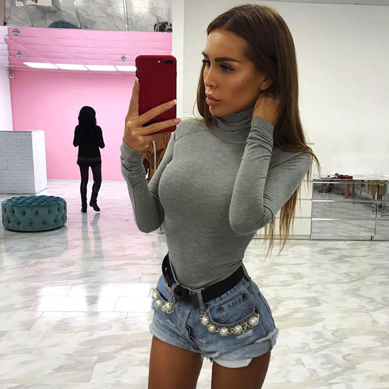 Cotton Long Sleeve High Neck Skinny Bodysuit 2018 Autumn Winter Women Solid Sexy Bodysuit New Fashion Bodycon Playsuits