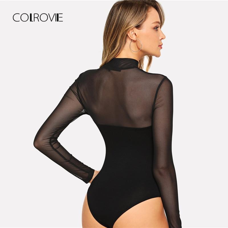 COLROVIE Solid Mock Neck Mesh Sheer Skinny Black Night Out Bodysuit Women Autumn Long Sleeve Sexy Body Female Basic Bodysuits