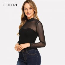 COLROVIE Solid Mock Neck Mesh Sheer Skinny Black Night Out Bodysuit Women Autumn Long Sleeve Sexy Body Female Basic Bodysuits
