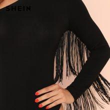 SHEIN Black Sexy Blackless Fringe Trim One Shoulder Long Sleeve Party Skinny Solid Bodysuit Summer Women Highstreet Bodysuits