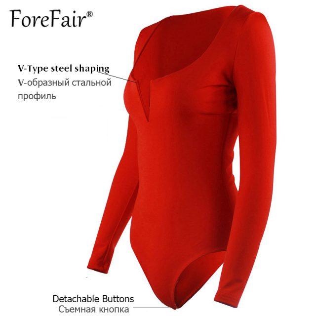 Forefair V Neck Long Sleeve Bodysuit Woman Top Autumn Winter Rompers 2018 Black Red White Burgundy Slim Body Women Sexy Bodysuit