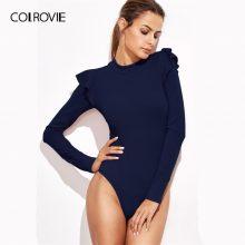 COLROVIE Navy Mock Neck Textured Bodysuit Women Cute Ruffle Long Sleeve Burgundy Bodysuits Skinny Blue Sexy Basic Lady Bodysuit