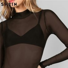 SHEIN Bodysuit Women Body Suits for Women Sexy Romper Black Mock Neck Long Sleeve Hollow Out Back Mesh Bodysuit