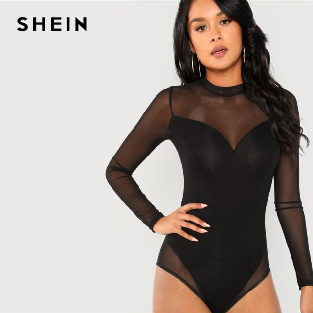 SHEIN Black Office Lady Elegant Mock Neck Mesh Panel Long Sleeve Skinny Solid Bodysuit 2018 Autumn Sexy Casual Women Bodysuits