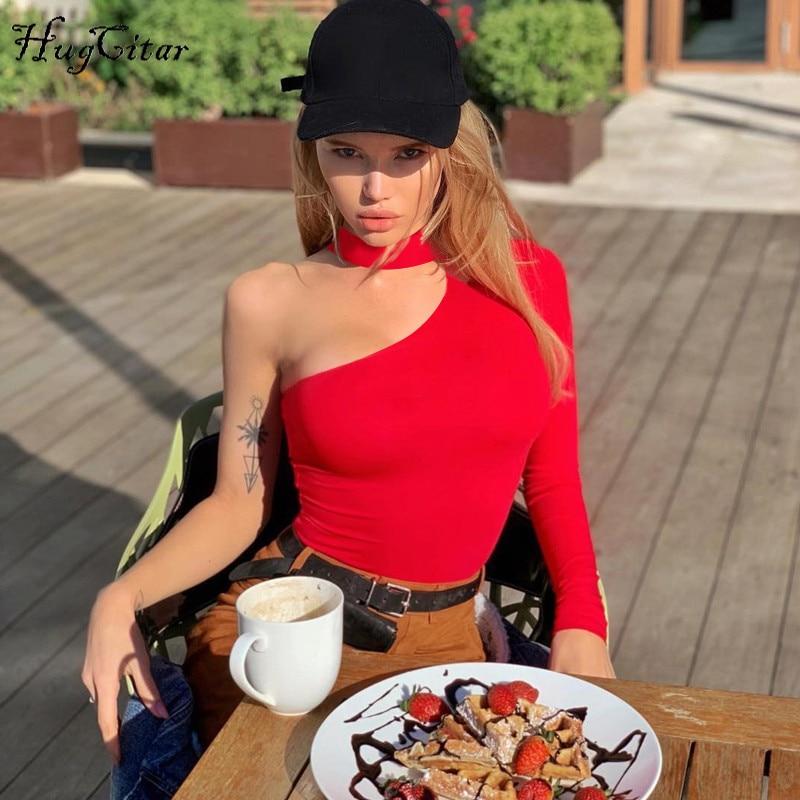 Hugcitar cotton halter one-shoulder sexy bodysuit women new fashion winter spring solid bodycon casual body