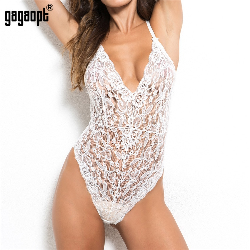 Gagaopt 2018 4 Colors Lace Bodysuit Women Deep V Neck Sexy Bodysuit White/Black Mesh Bodysuit Club Jumpsuit Overalls Sleepwear