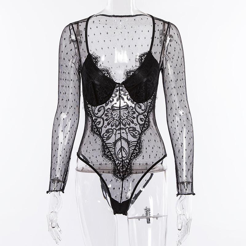 Cryptographic Hot Sale mesh lace bodysuit women body suit transparent sexy long sleeve catsuit jumpsuit 2018 bralette bodysuits
