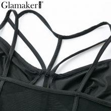 Glamaker Mesh black sexy teddy bodysuit Women transparent strap bodysuit Female summer bandage bodysuit one-pieces 2019 jumpsuit