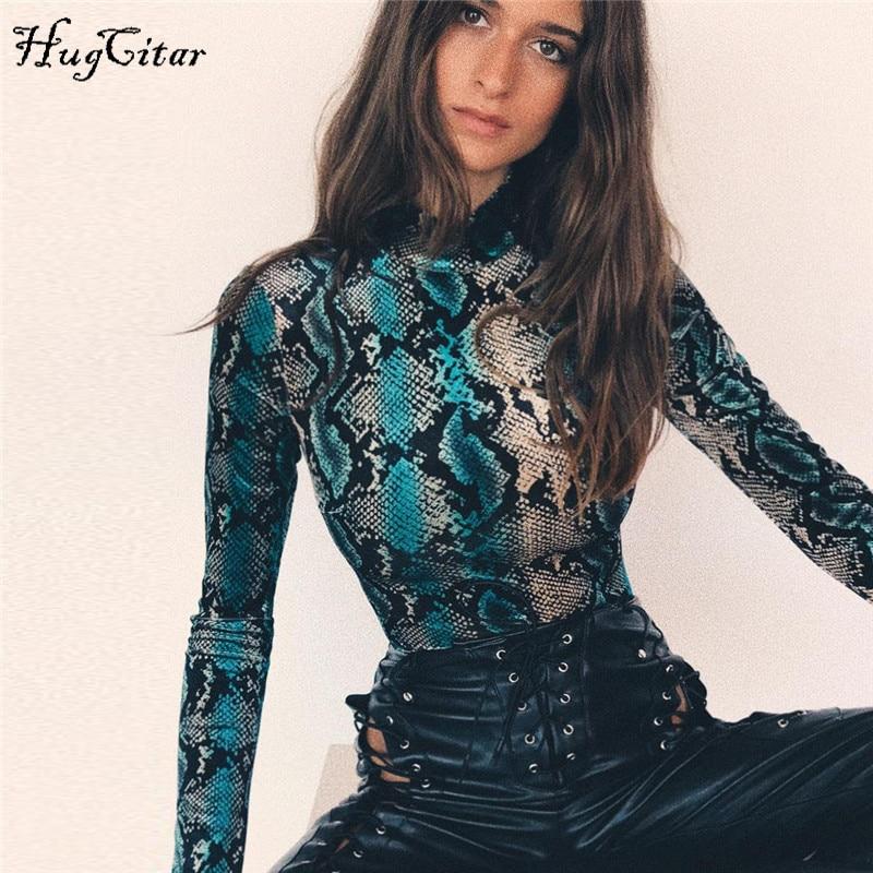 Hugcitar snake skin grain print long sleeve high neck bodysuits 2018 autumn women street fashion sexy snakeskin bodysuit