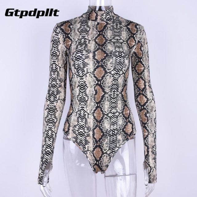 Gtpdpllt snake skin grain Print Bodysuit Women Tops Long Sleeve Autumn Winter Turtleneck Slim Bodysuits Rompers Womens Jumpsuits