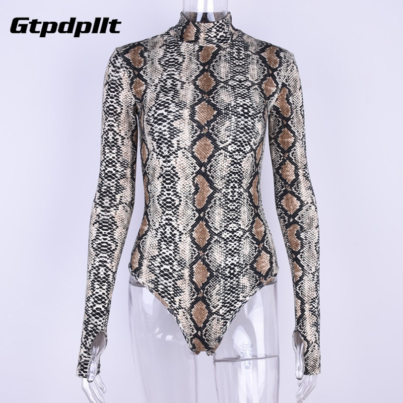 Gtpdpllt snake skin grain Print Bodysuit Women Tops Long Sleeve Autumn Winter Turtleneck Slim Bodysuits Rompers Womens Jumpsuits